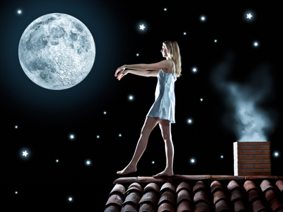 beautiful dreamy girl under the moon